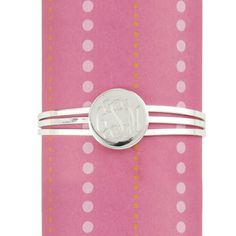 Silver Plate Monogram 3 Band Round Cuff Bracelet