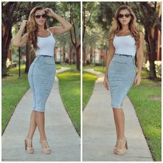 white tank and denim pencil skirt and nude shoes.