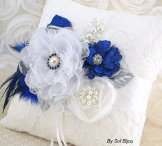 Bridal Ring Bearer Pillow with in White Silver and by SolBijou, $115.00