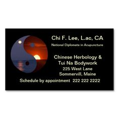 Yin Yang  Business Card. This great business card design is available for customization. All text style, colors, sizes can be modified to fit your needs. Just click the image to learn more!