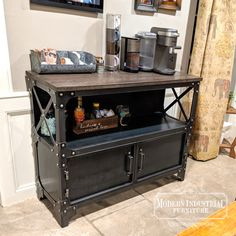 The Anvil Industrial Bar & Beverage Cabinet Modern Industrial Furniture, Metal Furniture, Industrial Style, Industrial Design, Furniture Design, Coffee Bar Station, Solid Doors, Wine Cabinets, Entertainment Center