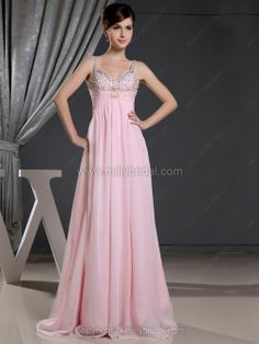 A-line Straps Chiffon Floor-length Rhinestone Prom Dresses