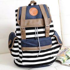 Korean Style Unisex Stripes Pattern Canvas Backpack