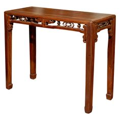 19th Century Qing Dynasty Narrow Side Table, like the carving accent, need to add to something!