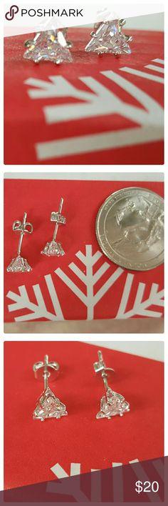 JUST IN: 18k WGP Triangle CZ Stud Earrings NWOT 18k White gold plated triangle CZ stud earrings. Brand new. 6mm. Jewelry Earrings