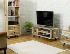 Roadie chic loft industrial tv media unit with cupboard reclaimed wood & metal