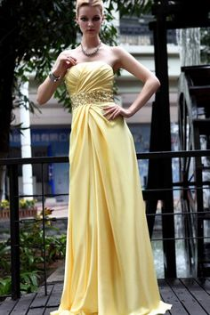 Yellow Beaded Strapless Satin Long evening dresses - £103.20 :
