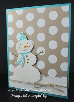 Stampin Up Snow Day snowman a Christmas card