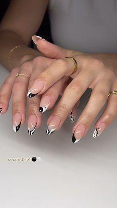 Victoria A.(@nailsxgoldenhour) on TikTok: #gelx #nails #tiktoknails #pinterestnails #fyp Cute Gel Nails, Edgy Nails, Stylish Nails, Pretty Nails, White Acrylic Nails, Almond Acrylic Nails, Best Acrylic Nails, Nail Piercing, Angel Nails