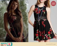 Katherine's black floral dress on The Vampire Diaries. Outfit Details: http://wornontv.net/22148 #TheVampireDiaries