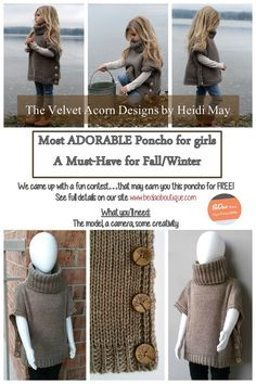 Your girl will be the center of attention with this trendy, cozy, and warm sweater poncho. Great fashion staple for her fall/winter wardrobe. Makes a wonderful gift! Size fits girls 2-7 yrs old.  Follow Bedao Boutique on Facebook, Pinterest, and Instagram for special announcements, coupon codes and giveaways! #pulloverponcho #sweaterponcho #girlsponcho #trendyponcho