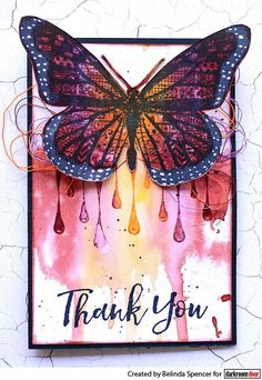 Card by Belinda Spencer using Darkroom Door Paint Drips Eclectic Stamp, Brushed Sentiments Stamp Set and Patchwork Butterfly Collage Stamp