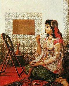 لوحة فنية لجزائرية عمل فني للرسام البلجيكي Jean-Baptiste Huysmans اسم اللوحة : The Beauty Mark