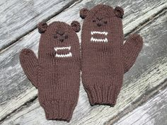 Grizzly brown bear animal mittens for mediium female by HotScones, $50.00