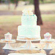 This Shabby Chic wedding has the most darling cake and cupcakes we've seen in a long time ...