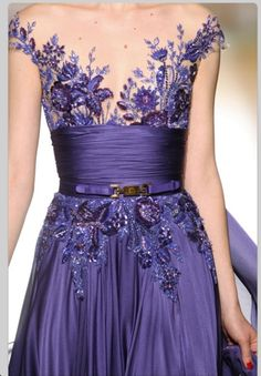 Embellished purple gown
