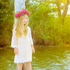The Chloe Lace Flower Girl Dress - Ivory Crème - MyWedStyle.com