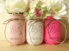 Three Mason Jars, Painted Mason Jars – Rustic Style Mason Jars — Light Pink, White and Bright Pink by:-curiouscarrie