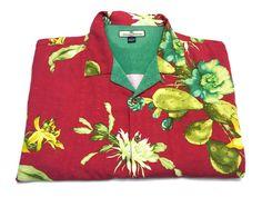 Tommy Bahama XL Floral Cactus Silk Hawaiian Camp Shirt Short Sleeve #TOMMYBAHAMA #Hawaiian