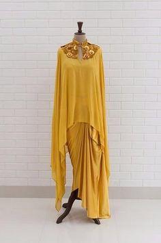 1bfbd2d911 ABRIANA : Spicy Mustard Kundan Drape sleeveless Top with box pleated collar  and Lehenga Gharara Designs