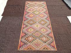"Long Area Rug,Pastel Turkish Kilim,5""x11,8"" Feet 152x356 Cm Home Living Decoration Flat Weave Woven Turkish Kilim Rug,Ethnic Rare Kilim Rug."