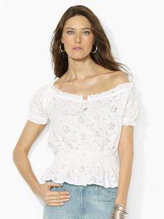 Smocked Cotton Top - Short-Sleeve  Shirts - RalphLauren.com