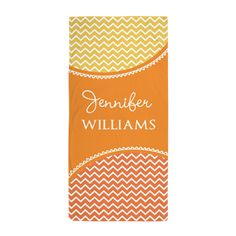 Yellow Orange Chevron Personalized Beach Towel