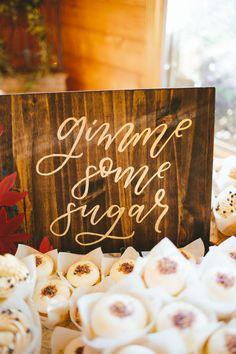 Lodge Wedding In Fall (Wedding Chicks) Lodge Wedding, Fall Wedding, Diy Wedding, Rustic Wedding, Dream Wedding, Wedding Ideas, Bush Wedding, Wooden Wedding Signs, Dessert Bar Wedding