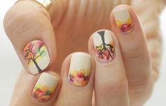 Diseños de uñas juveniles de moda, Diseños de uñas juveniles con arbol.   #manicuras #3dnailart #uñassencillas