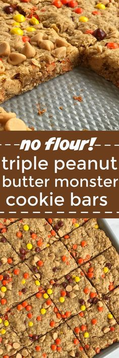 No flour triple peanut butter monster cookie bars are loaded with peanut butter, peanut butter chips, mini reese's pieces, and oatmeal! This recipe makes an entire cookie sheet of bars & they freeze perfectly. Perfect for lunchboxes or snacks for the week