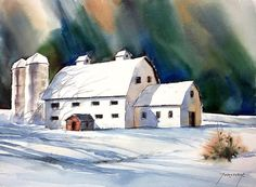 White Barn, Scene, Snow, Landscape, Whipped Cream, Barns, Watercolors, Paintings, Outdoor