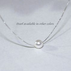Floating Pearl Necklace, White Pearl Necklace, Custom Bridesmaid Gift, Swarovski White Pearl Necklace, Maid of Honor Gift, Gift for Her