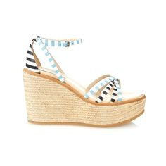 See By Chloé Striped leather espadrille wedges ($198) ❤ liked on Polyvore featuring shoes, sandals, wedges, heels, sandale, blue stripe, strappy sandals, leather sandals, blue leather sandals and leather strap sandals