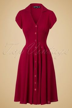 1940s Keely Swing Shirtwaist Dress in Red £53.98 AT Vintagedancer.com