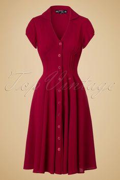 1940s Keely Swing Shirtwaist Dress in Red £53.98 AT Vintagedancer.com