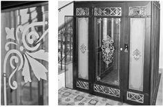 Renovierter Aufzug mit Sandstrahl Elementen / renovated elevator with sandblasted glasses