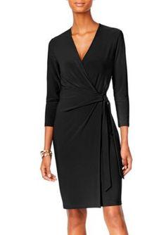 Anne Klein Women's Faux Wrap Dress - Black - 16