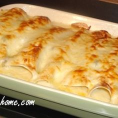 Chicken Enchiladas recipe - 10 soft taco shells 2 cups cooked, shredded chicken - I used 2 chicken breasts 2 cups shredded Monterey Jack cheese or Mexican Blend – divided use salt and pepper 3 Tbsp. butter 3 Tbsp. flour 2 cups chicken broth 8 oz. cream cheese – divided use 1/2 cup sour cream 1 (4 oz.) can diced green chillies