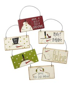 Holly Jolly Snowman Sign Ornament Set - inspiration only