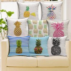 2016 Car Seat Cotton Linen Fruit Pineapple Cushion Without Core Decorative Throw Pillows Sofa Cushions Home Decor 45*45cm
