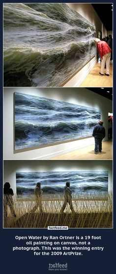 Open Water by Ran Ortner is a 19 foot oil painting on canvas, not a photograph.