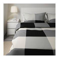 BRUNKRISSLA Duvet cover and pillowcase(s), black, gray black/gray Full/Queen (Double/Queen)