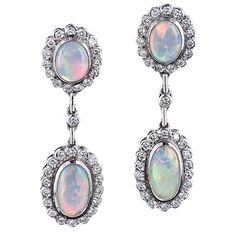 Estate Opal and Diamond Drop Earrings | 1stdibs.com