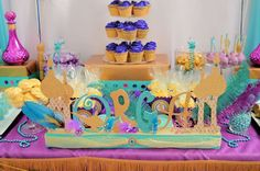 10 Fascinating Aladdin Birthday Party Ideas To Cast a Magical Spell! First Birthday Themes, Themed Birthday Cakes, Girl Birthday, First Birthdays, Aladdin Birthday Party, Aladdin Party, Birthday Parties, Princess Jasmine Party, Princess Theme Party