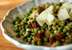 ISRAELI COUSCOUS LEMON RISOTTO WITH PEAS, BACON & PECORINO ROMANO CHEESE