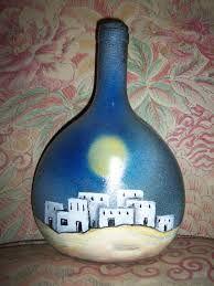 Resultado de imagen para pintar botellas de vidrio con acrilico