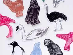 Beautiful Birds Sticker Set. Eleven Cute and Colourful Animal