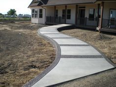 Stamped Concrete Front Steps | Trad front walk with agg borders