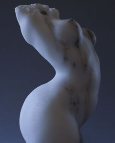 Colorado Marble #sculpture by #sculptor Sherry Tipton titled: 'Torso (Rampant Flaunting nude Girl`s Torso sculpture)'. #SherryTipton