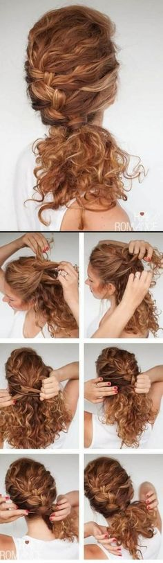 Easy everyday curly hairstyle tutorials – the curly side braid Hair Romance - Tutoriels de coiffure Side Braid Hairstyles, Loose Hairstyles, Pretty Hairstyles, Wedding Hairstyles, Curly Hair Tutorial, Bridal Braids, Hair Romance, Hair Flow, Hair Extensions Best
